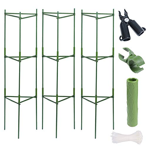 æ— 3 Packs Plant Cages Assembled Tomato Garden Cages Stakes Vegetable Trellis,Garden Tomato Cages and Supports,Tomato Trellis for Vine,Fruits Flowers 5Pcs A-Clips Fork,60 Zie Ties
