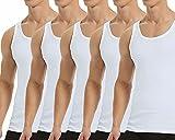 Falechay Camiseta Tirantes para Hombre Pack de 5 de Algodón 100% Camisetas Interiores Deporte más Colores Blanco S