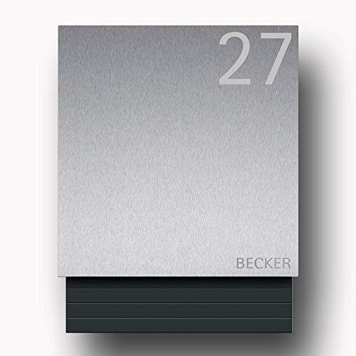Briefkasten Edelstahl B1 Light Number inkl. Namensbeschriftung (Türanschlag rechts)