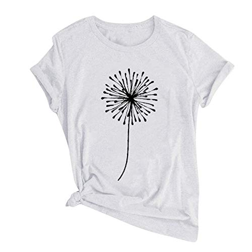 T-Shirt Women's Loose Dandelion Printing T-Shirt Short Sleeves Round Neck Loose T-Shirt Oversize Apply To Daily Use Exercise Running Cycling Gym Etc-White_XXXL_Spain