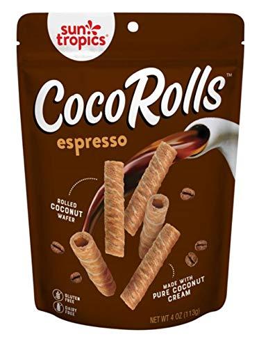 Sun Tropics CocoRolls Dairy Free Gluten Snack-Crisp Coconut Rolled Waffler, Espresso, 6 Count