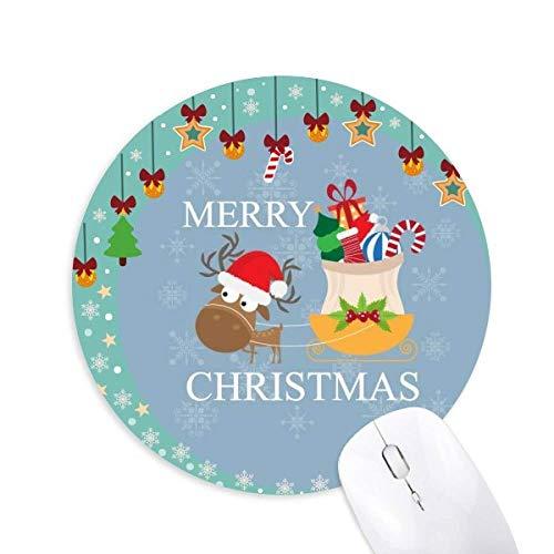 Christmas Elk Gift Fröhliches Weihnachtsfest Maus Pad Jingling Bell Rund Gummimatte