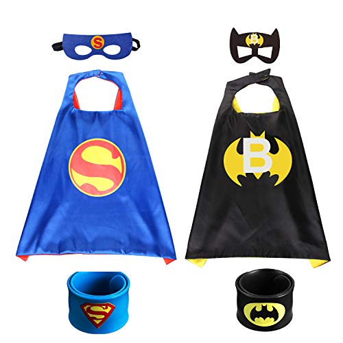 2Pcs Capa de Superhéroe para Niños - 2 Capa y 2 Máscaras 2 Pulsera de silicona -Halloween Ideas Kit de Valor de Cosplay de Diseño de Fiesta de Cumpleaños de Navidad - Juguetes para Niños y Niñas Capes