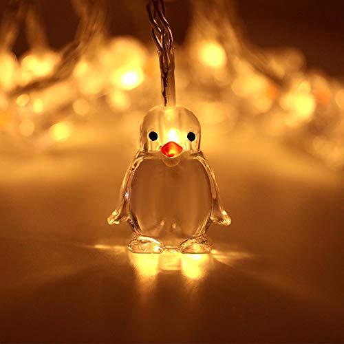 Cadena de luces de pingüino, 1,65 m, 10 luces LED, funciona con pilas, para Navidad, Halloween, boda, exterior, jardín, dormitorio, decoración de pared