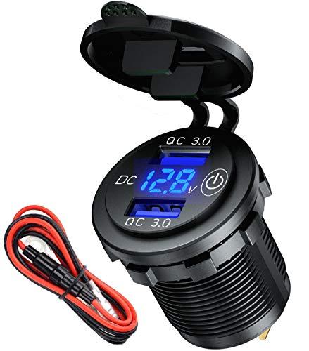 USB Steckdose 12V mit Schalter Quick Charge 3.0 Auto Ladegerät USB einbau Buchse KFZ wasserdichte mit LED Voltmeter für Motorrad, Wohnwagen, Boot,LKW