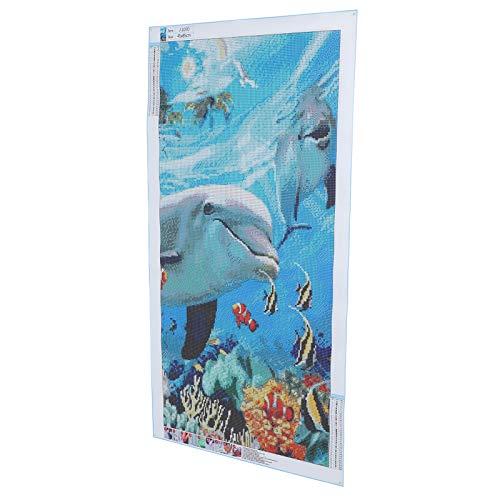 Kit de pintura de diamantes, artesanía, pintura de diamantes DIY, patrón de animal de delfín acrílico para sala de estar, café