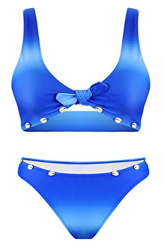 Hotelvs Damen Farbverlauf Krawattenknoten Front Hochdrücken Bikini-Set Schale Zweiteilige Badeanzüge