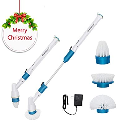 Electric Spin Scrubber,360 Cordless Bathroom Scrubber with 3 Replaceable Cleaning Shower Scrubber Brush Heads,Extension Handle for Tub,Tile, Floor, Wall,Shower, Bathtub, and Kitchen