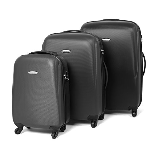 MasterGear Set da 3 Valigie da Viaggio| Trolley Esterno Rigido ABS| 4 Ruote (360°) |Lucchetto a Combinazione TSA |Valigia Piccola, Valigia Media e Valigia Grande Colore Nero