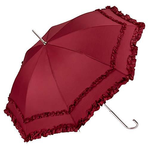 VON LILIENFELD Regenschirm Damen Mode Sonnenschirm Brautschirm Hochzeitsschirm Mary-Poppins-Schirm Automatik Mary bordeaux mit Rüschen