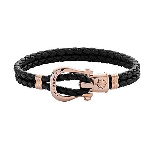 PAUL HEWITT Schäkel Armband Damen PHINITY - Leder Armband Frauen (Schwarz), Armband Damen mit Schäkel Verschluss aus IP-Edelstahl (Rosegold)