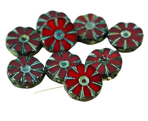 8pcs Picasso Red Travertin-Tisch schnittblume Flach Opal Münze Tschechische Glasperlen, 12mm