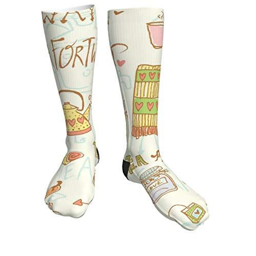 Compression Socks Women & Men Scarf Kettle Milk Coffee Pastries Heel Thick Socks - Best for Running,Athletic Sports,Flight Travel, Pregnancy, Soccer