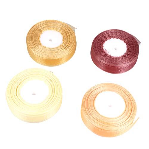 TOYANDONA 4 Rollos de Cinta de Organza Colorida 2. 5Cm Cordón de Cinta de Tul para Lazos para El Cabello Manualidades Diy Envoltura de Regalos Decoración Arreglos Florales