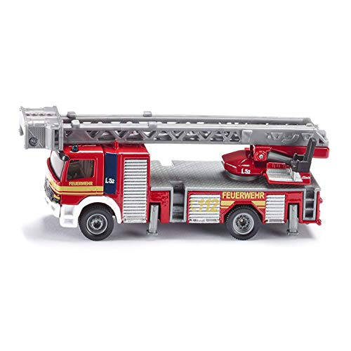 SIKU 1841, Feuerwehrdrehleiter-Fahrzeug, 1:87, Metall/Kunststoff, Rot, Bewegliche Leiter