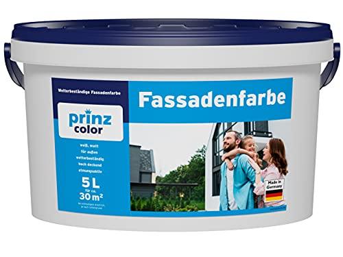 prinzcolor Fassadenfarbe Aussenfarbe Fassadenwetterschutz weiß Weiß 5l