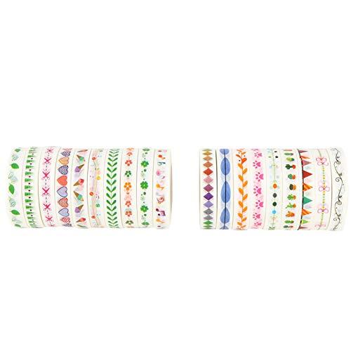 Washi Masking Tape Set 19Rolls / Set 10M para manualidades DIY Planeer Arts Craft