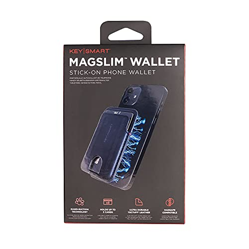 KEYSMART MAGSLIM 지갑에 전화 지갑 및 카드 홀더를 보유하는 3 개 카드-개의 카드 홀더를 위한 휴대 전화 케이스 아이폰 12   12 호환 프로(블랙)