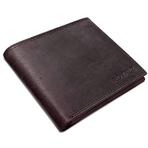 ROYALZ Vintage Portemonnee mannen kleine lederen Billfoldportefeuille voor Heren platte wallet horizontaal formaat, Kleur:Koeienleer Donkerbruin