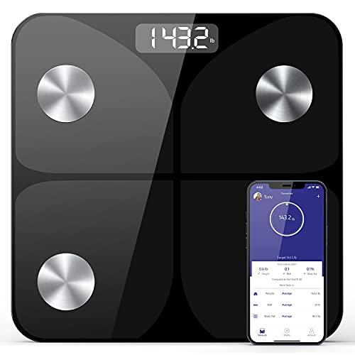 Körperfettwaage Digital Personenwaagen ,Intelligente Digitale Personenwaage mit App Wireless Waage für Körperfett,BMI,Gewicht,Muskelmasse,Wasser,Protein,BMR