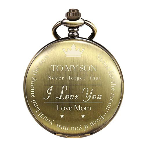 """TREEWETO Pocket Watch to My Son   Mother and Son - Graduation Gifts for Him 2020 - Engraved """"to My Son Love Mom"""" Pocket Watches - for Son from Mom for Christmas, Valentines Day, Birthday, Bronze"""