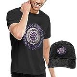 Thimd Camiseta de Manga Corta para Hombre,Gorra de béisbol Combinación Negro Whitesnake The Purple T Shirts Washed Denim Baseball Dad Hats Black