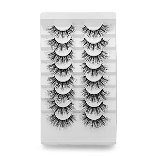 Shihao159 False Eyelashes 8 Pairs 3D Faux Mink Hair 20MM Lashes Woman Multilayered Long Natural Full Thick Wispies Fluffy Eye Lash Extension(A02)