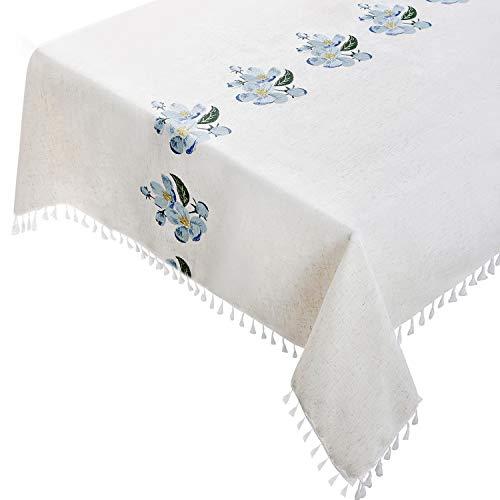 Mantel de 140 x 220 cm, algodón de lino, rectangular, con patrones bordados y borlas, color beige con flor de loto azul, para mesa de comedor interior y exterior
