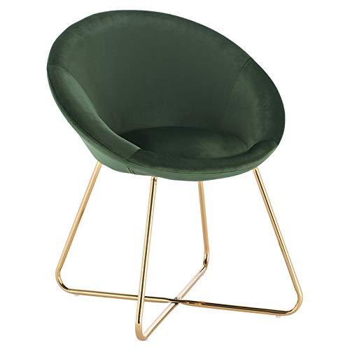 WOLTU® Esszimmerstühle BH217dgn-1 1x Küchenstuhl Polsterstuhl Wohnzimmerstuhl Sessel, Sitzfläche aus Samt, Goldene Metallbeine, Dunklegrün