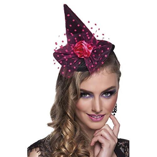Tiara cappellino strega Pinka con decorazione velo a pois rosa