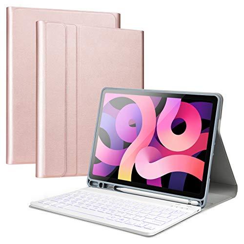 Olycism Teclado Bluetooth Compatible con iPad Air 4 10.9 Pulgadas(2020), Funda Protectora con Teclado Desmontable retroiluminado de 7 Colores para iPad Air 4/ iPad Pro 11 2020/2018