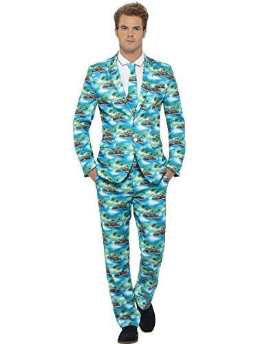 Smiffys, Herren Aloha! Anzug Kostüm, Jacke, Hose und Krawatte, Größe: L, 40083