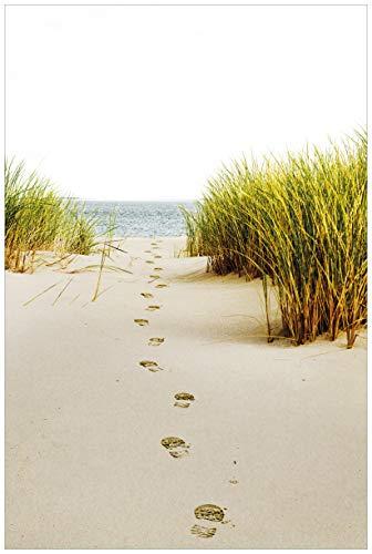 Wallario selbstklebendes Poster - Spuren im Sand- Fußspuren durch die Düne zum Meer in Premiumqualität, Größe: 61 x 91,5 cm (Maxiposter)