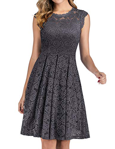 Summer Wedding Guest Dress Vintage Floral Lace Dress Grey M