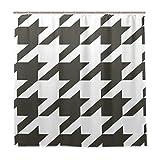 Jessgirl Duschvorhang Bad Kunst Muster Hahnentritt 72x72 Zoll Home Décor Ring Wasserdichtes Stoff-Set mit Haken Badezimmer