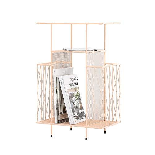 TXXM Revistero de hierro para el suelo, dormitorio, mesita de noche, estante de almacenamiento para sala de estar, estante de múltiples capas sándwiched (color: rosa)