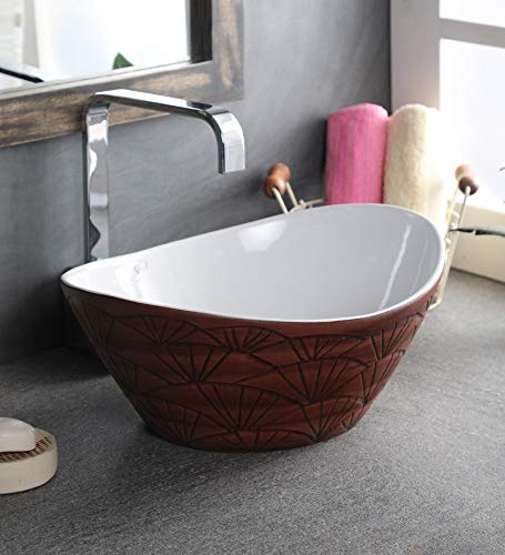 Zoyo Cera Joyo Cera Oval Shape Designer Ceramic Wash Basin /(16 X 13 x 6 Inch) / Brown/White Vessel Sink/Over or Above Counter Top Wash Basin for Bathroom Oval Shape/Finish for Bathroom & Living Room