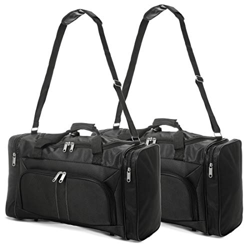 Amazon Brand: Eono Essentials 32L Large Capacity Lightweight Hand Luggage Cabin Sized Weekend Sports Duffel Holdall Carry on Bag (2X Black)