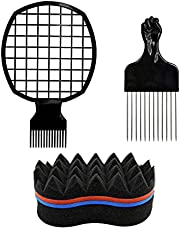 Dzsomt Peine Pelo Rizado 3 Piezas Peine para Pelo Afro Esponja Rizos Afro Pelo Colorear Cepillo Peine Afro de Acero Inoxidable para Pelo Rizado Natural para el Cabello African