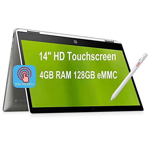 Flagship HP Chromebook x360 14 2 in 1 Laptop 14' HD Touchscreen Display Intel Quad-Core Pentium Silver N5000 4GB DDR4 128GB eMMC WiFi USB-C B&O Play ChromeOS + Pen