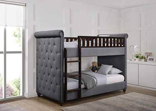 New 3FT Single Children's Chesterfield Buttoned Design Dark Grey Linen Fabric Wooden Bunk Bed Frame & Mattresses (Bunk Bed & 2 x 3FT Mattresses)