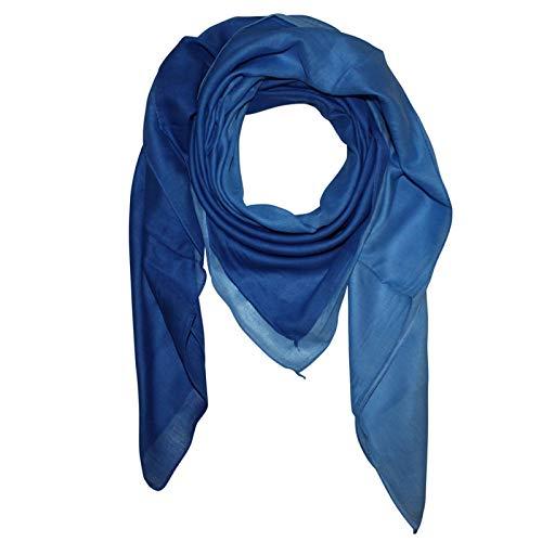 Superfreak Baumwolltuch mit Farbverlauf - Tuch - Schal - 100x100 cm - 100% Baumwolle Farbe blau