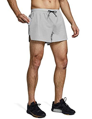 "BALEAF Men's 4"" Athletic Running Shorts Mesh Quick-Dry with Liner & Zipper Pocket Gray M"