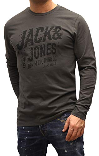 Jack and Jones - Maglietta a maniche lunghe da uomo, stampa Tee O – Neck Regular Fit asfalto (grigio scuro) S
