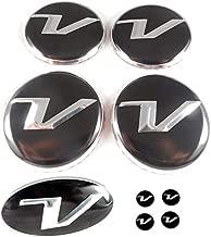 V Logo Wheel Caps + Steering Wheel Emblem + Mini Emblem Set 9pc for Hyundai Veloster Models (Loden)