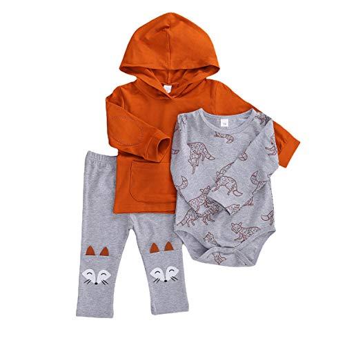 Mameluco para Bebé Recién Nacido Manga Larga Estampado Zorro con Pantalones Largos para Otoño Primavera Conjunto para Niño Sudadera Manga Larga Estilo Casual (Gris, 12-18 M)