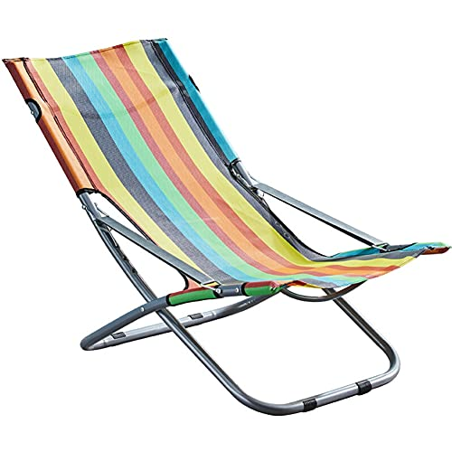 WDSWBEH Silla de Patio Plegable portátil, Perezoso de salón al Aire Libre reclinable con Rayas de Colores, Asiento de césped Ajustable para terraza, jardín, Piscina, Playa, Camping, Siesta de Oficina