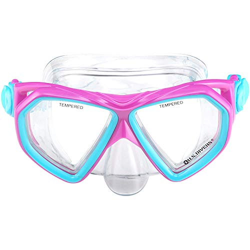 U.S. Divers Junior Small Kids Dorado Mask, Proflex Fins, & Sea Breeze Snorkel Set with Carry Travel Bag, Fun Purple