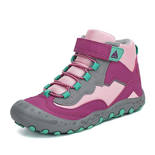 Mishansha Kids Boys Girls Water Resistant Hiking Boots Anti-Skid Outdoor Ankle Climbing Shoes Pink/Purple