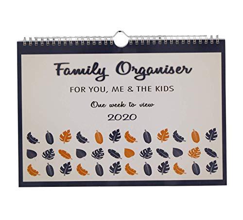 ARPAN 2019-2020 Wekelijkse Familieplanner Wandkalender. 6 Kolom Midjaar Week-To-View Academische Organisator voor Drukke Mensen. Loopt van 1 augustus 2019 naar 31 december 2020